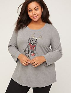 Sparkling Puppy Tee With Long Sleeves