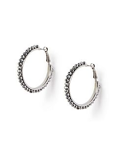 Silver Well Hoop Earrings