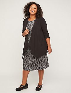 Chevron Cascade Jacket Dress