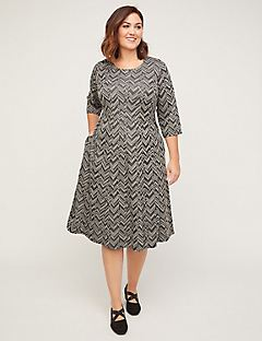 Chevron Pine Dress (With Pockets)