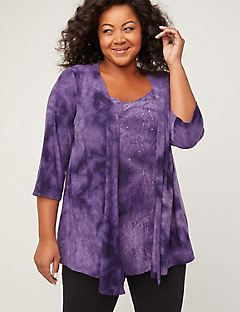 Embroidered Tie Dye Duet Top