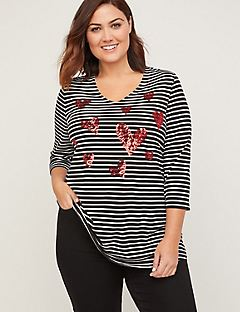 Sequin Heart Stripes Tee