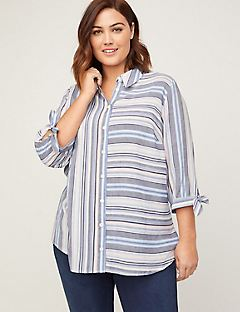 Blue Skies Georgette Buttonfront Top