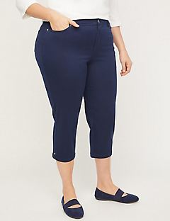 Sateen Stretch Capri With Comfort Waistband