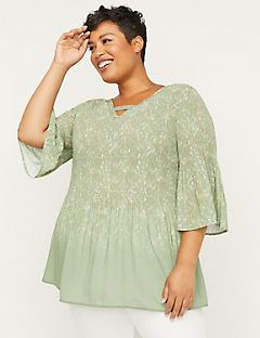 Pleated Paisley Georgette Top