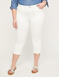Universal Denim Capri With Eyelet Hem