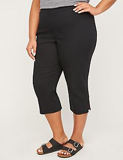 Essential Flat Front Twill Capri With Side Inset