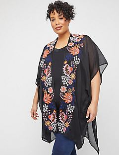 Bursting Floral Embroidered Kimono
