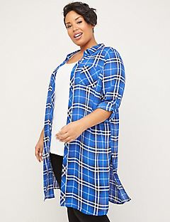 Riverbank Georgette Plaid Duster
