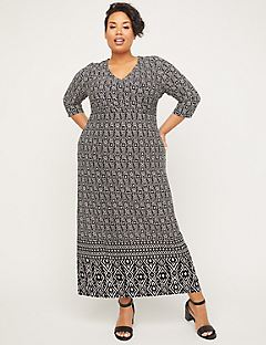 Black Label Geometric Faux-Wrap Maxi Dress