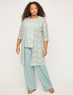 3-Piece Metallic Lace Pant Suit