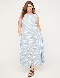 Seashore Stripe Linen Blend A-Line Dress