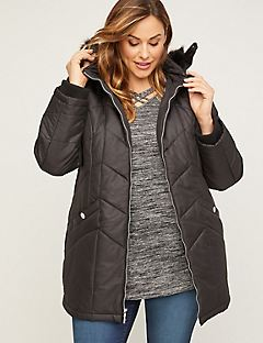 Chevron Puffer Coat with Faux Fur