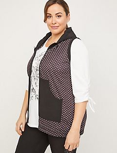 Polka Dot Hooded Tunic Vest