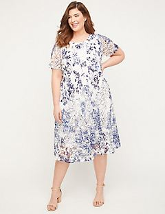 Indigo Lace A-Line Dress