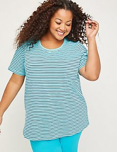 Striped Embroidered-Neck Suprema Tee