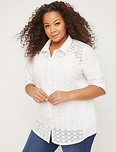 Eyelet Buttonfront Shirt