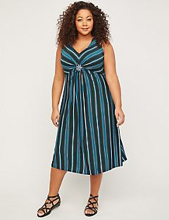 Midnight Medallion Twist Fit & Flare Dress