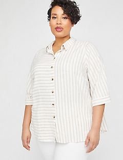 Mixed Stripe Linen Blend Buttonfront Tunic