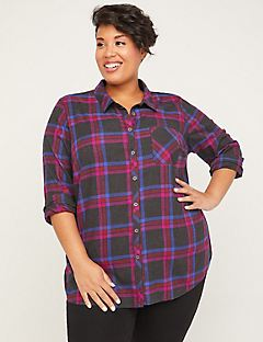 Plaid Grove Buttonfront Top
