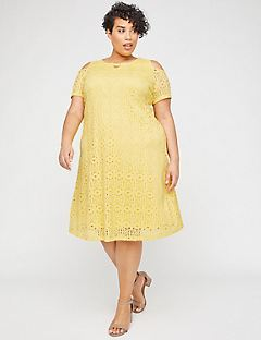 Sunshine Lace Open-Shoulder A-Line Dress