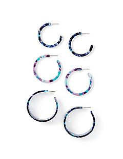 Marbled Resin Hoop Earrings 3-Pack