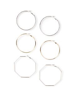 Geo Hoop Earrings 3-Pack