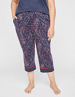 Pleasant Paisley Cotton Sleep Capri