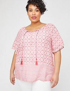 Striped Medallion Peasant Top