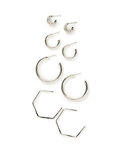 Silvertone Hoop Earrings 4-Pack