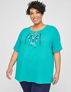 Hillside Embroidered Gauze Top