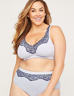 No-Wire Cotton Comfort Bra with Romantic Lace