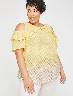 Valley Sun Open-Shoulder Georgette Top