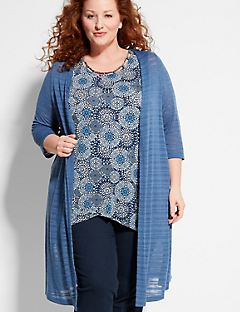 Shadow Stripe Duster Cardigan
