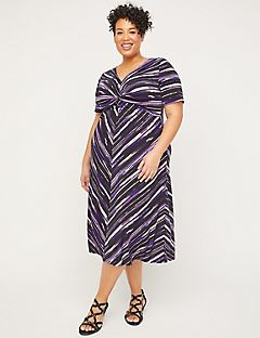 Violet Twist-Knot Fit & Flare Dress