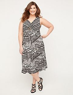Moonlight Medallion Twist Fit & Flare Dress
